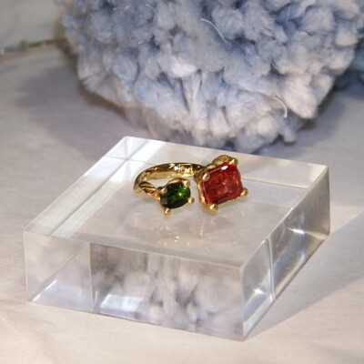 Organic 18k Gemstones Open Ring