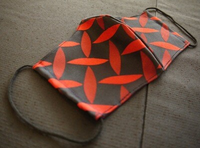 0-1 Vintage KIMONO MASK  (Red leaf series Vintage kimono mask Black tone brand number 1 )