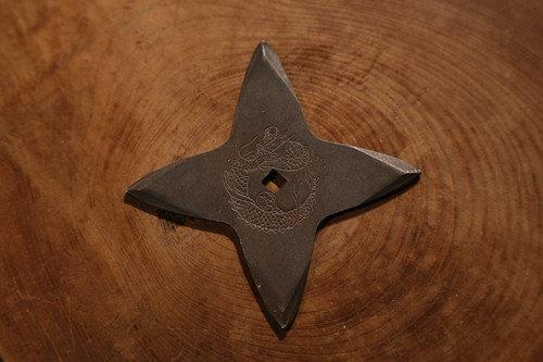 Black fumigation Shuriken (Ninja star) : cross (Imitation)黒燻し手裏剣 十字