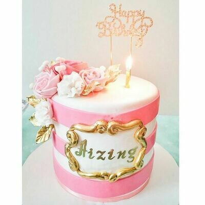 Floral Pink and Gold Theme Cake