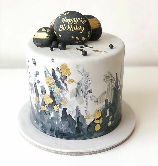 Handpainted Black and Gold Cake