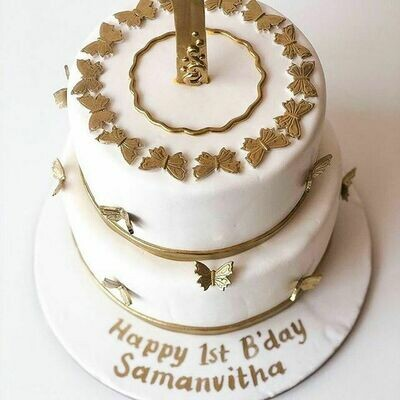 2 Tier Gold Butterfly Birthday Cake