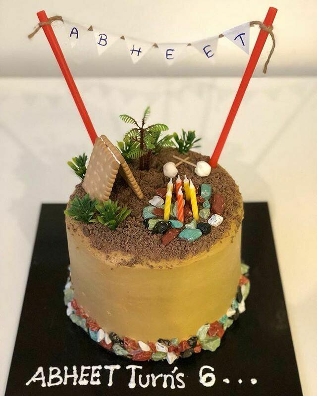 Buttercream Camping Theme Cake