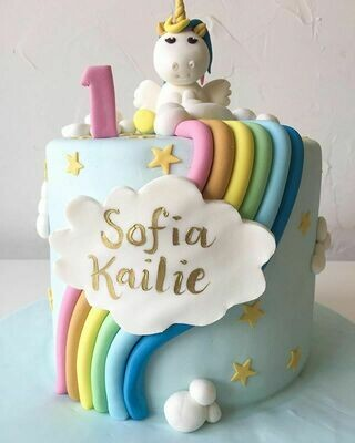 Rainbow with Clouds Cake