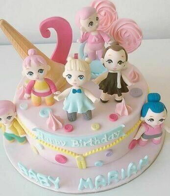 Little dolls Figurines Cake - 3D