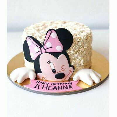 Buttercream Minnie Mouse Cake with matching Cupcakes