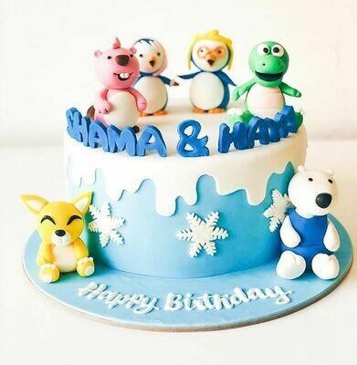 Penguin / Snowflakes cake