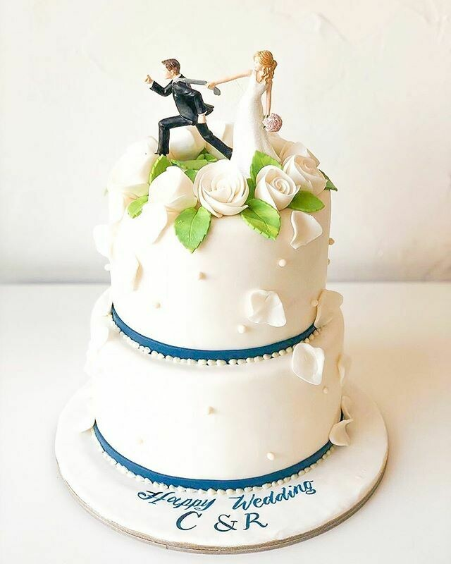 2 Tier Wedding Cake with a Topper