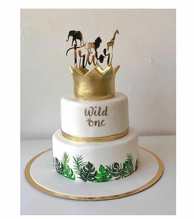 2 tier Tropical theme Birthday cake