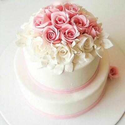 2 Tier Floral Wedding Cake