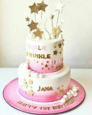2 Tier Star and Moon Cake