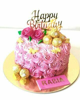 Rosette Buttercream Cake With Topper