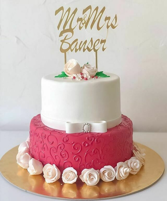 2 Tier Wedding Cake with personalised topper
