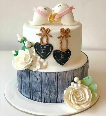 2 Birds theme Wedding Cake - 3D