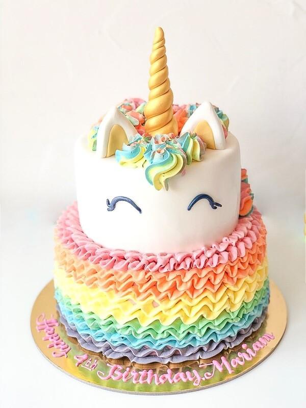 Unicorn with Rainbow Ruffles Cake