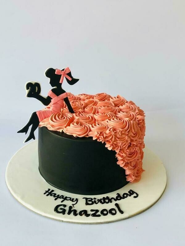 Lady in Black and Pink Cake