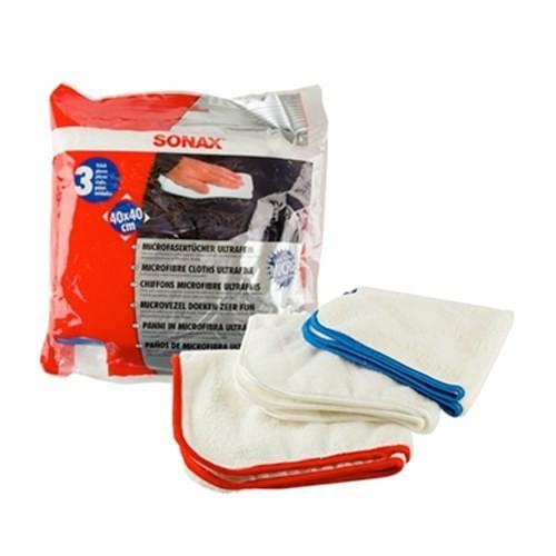 Салфетки из микрофибры для нежной очистки SONAX MICROFIBRE CLOTH ULTRAFINE Комплект 3шт (40х40см)