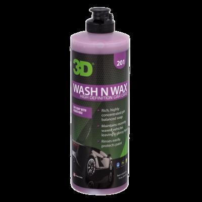 Автошампунь для ручной мойки с воском Нейтральный 3D Car Care WASH N WAX, 470мл