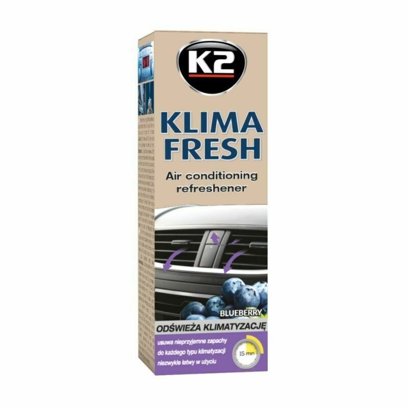Очиститель кондиционера автомобиля Черника K2 KLIMA FRESH BLUEBERRY, 150мл