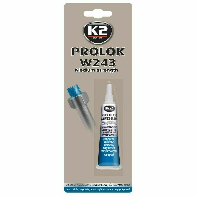Анаэробный герметик фиксатор резьбовых соединений Синий K2 PROLOK MEDIUM, 6мл