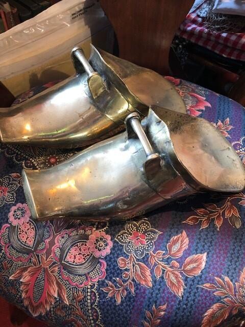 Pair of Antique Chilean Brass Gaucho Stirrups - amazing display pieces