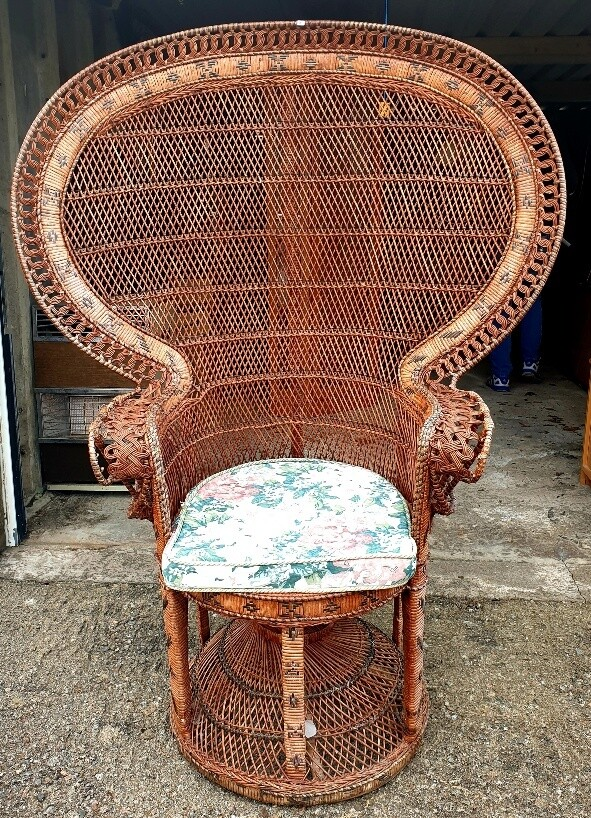 """High Backed """"Peacock"""" Rattan Conservatory/Sun Room Chair"""
