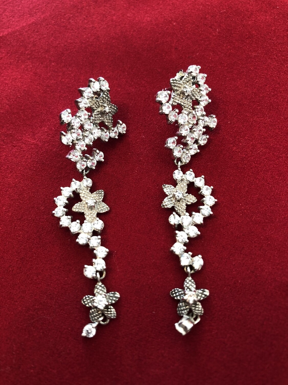 Silver (.925) drop earrings encrusted with semi precious stones/Cubic Zirconia