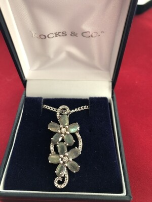 Spectrolite & White Topaz Necklace set in .925 Silver with Silver chain