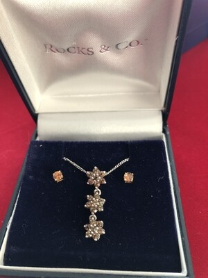 9k White Gold & Andalusite Necklace and Earring Set - immaculate