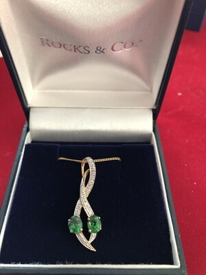 9k Gold Necklace with AAA rated Tsavorite Garnets and Diamonds - stunning