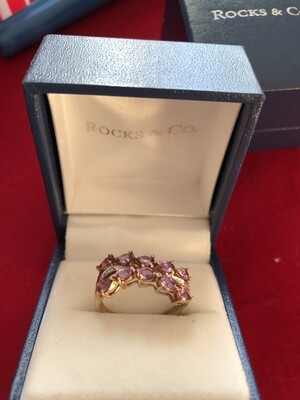 9k Gold Sapphire & Diamond Ring - 10 Beautiful Pink Sapphires and 4 Small Diamonds (Size L)