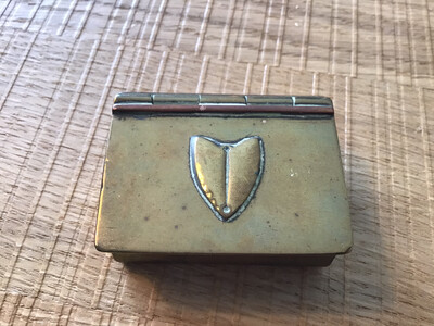 Small Brass Trinket or Pill Box - Prob Victorian very unusual design and shape
