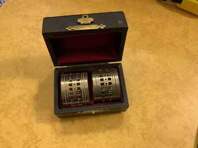 Pair Of Boxed Victorian White Metal Napkin Rings