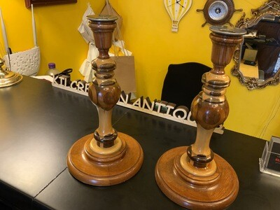 Pair Of 1950's Turned Wooden Candlesticks - Very Unusual