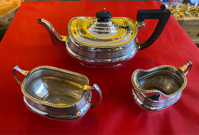 Solid Silver Tea Service - Hallmarked Chester 1868, Tea Pot, Creamer & Sugar Bowl