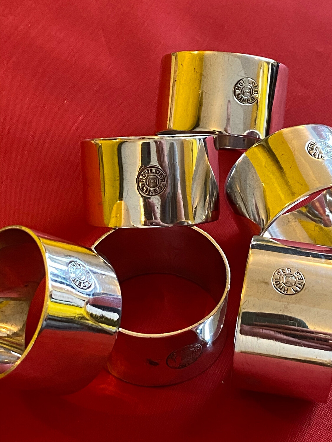 Set Of Six Napkin Rings - Houlder Shipping Line
