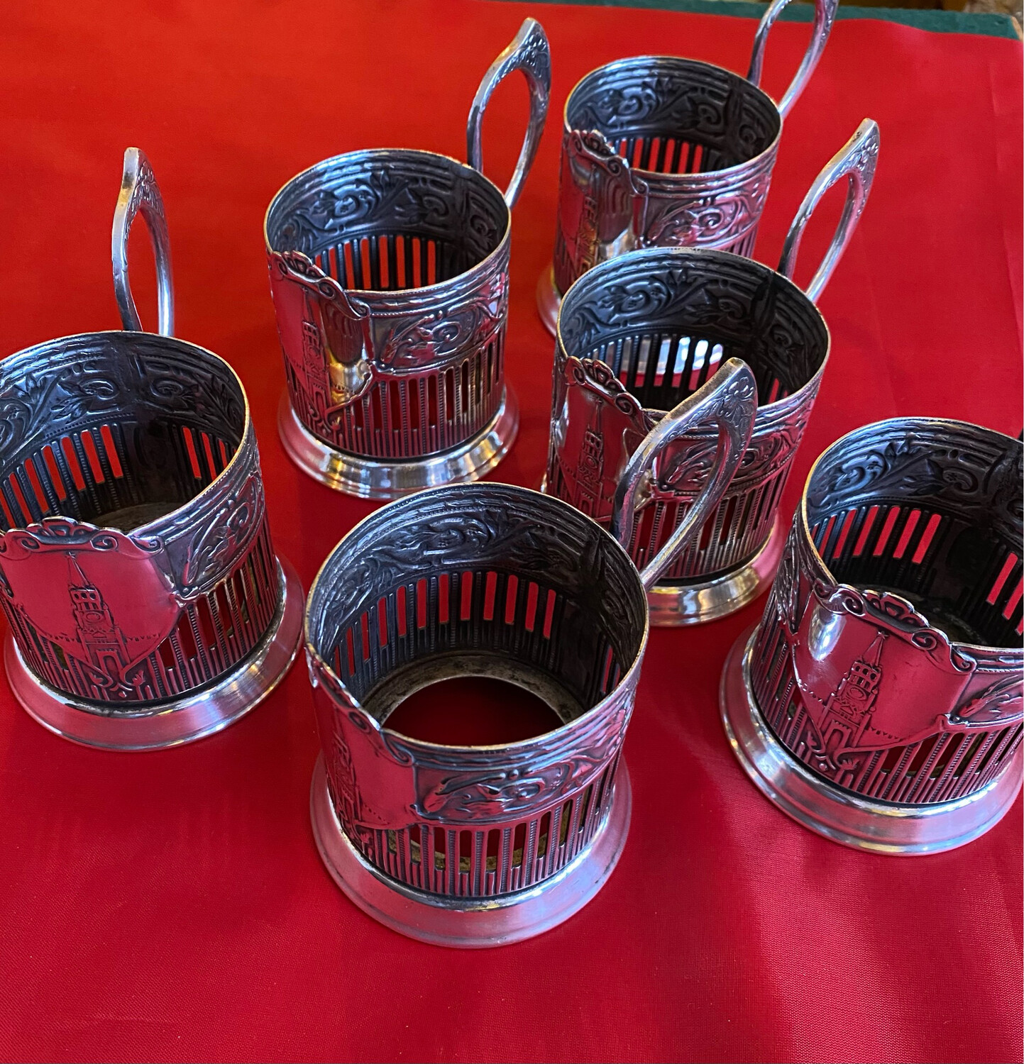 Set Of 6 White Metal Russian Tea Holders - Missing The Glass Liners