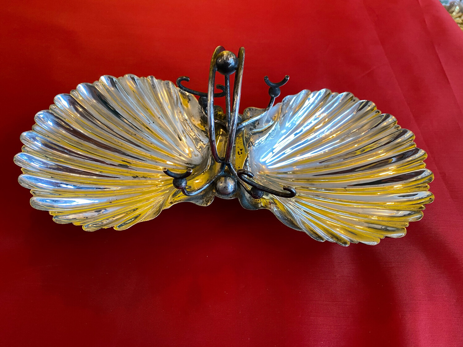 Silver Plated Twin Scallop Dish - EPNS Late Victorian