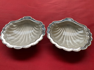 Pair Of Silver Plated Scallop Dishes With Glass Liners - Circa Late 1800's