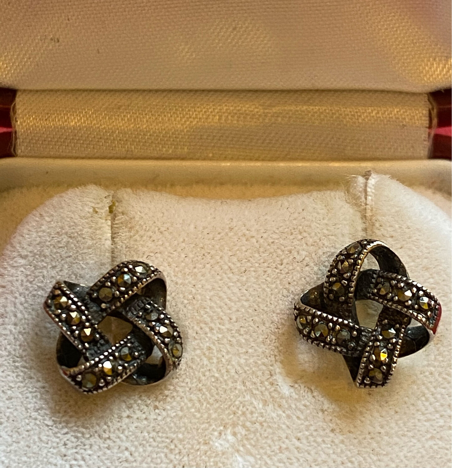 Vintage Marcasite And Silver (.825) Stud Earrings - Lovely Set