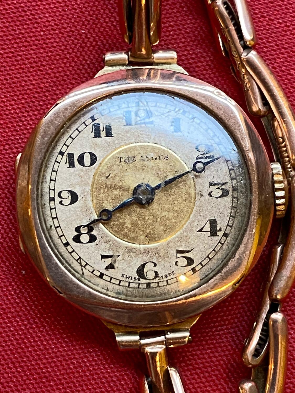 Very Rare 9ct Gold The Angus Ladies Wrist Watch - Circa 1930
