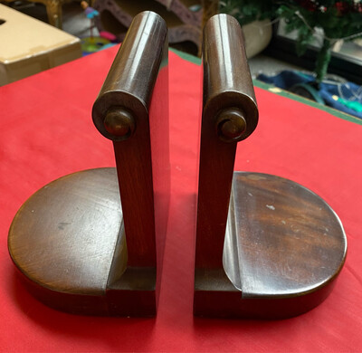 Pair Of Victorian Scroll Top Wooden Bookends - Lovely Condition