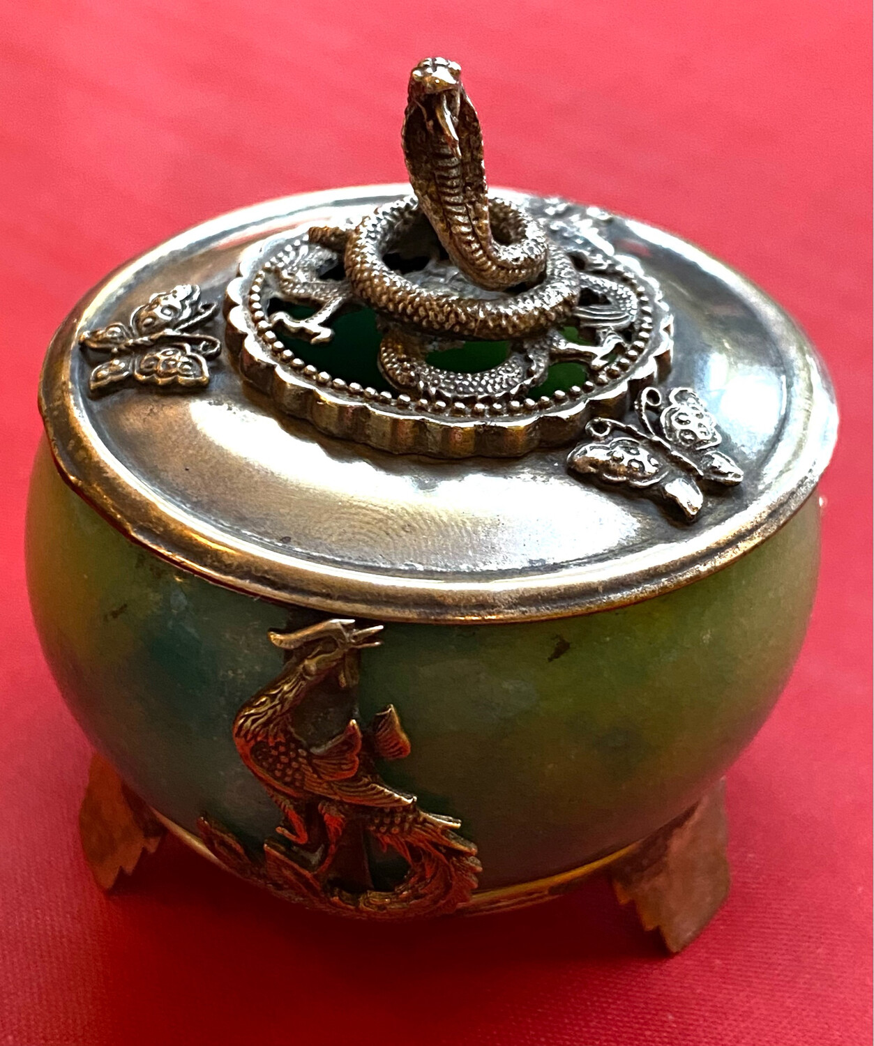 Chinese Silver Lidded And Framed Jar - Marked With Chinese Silver Chop Mark