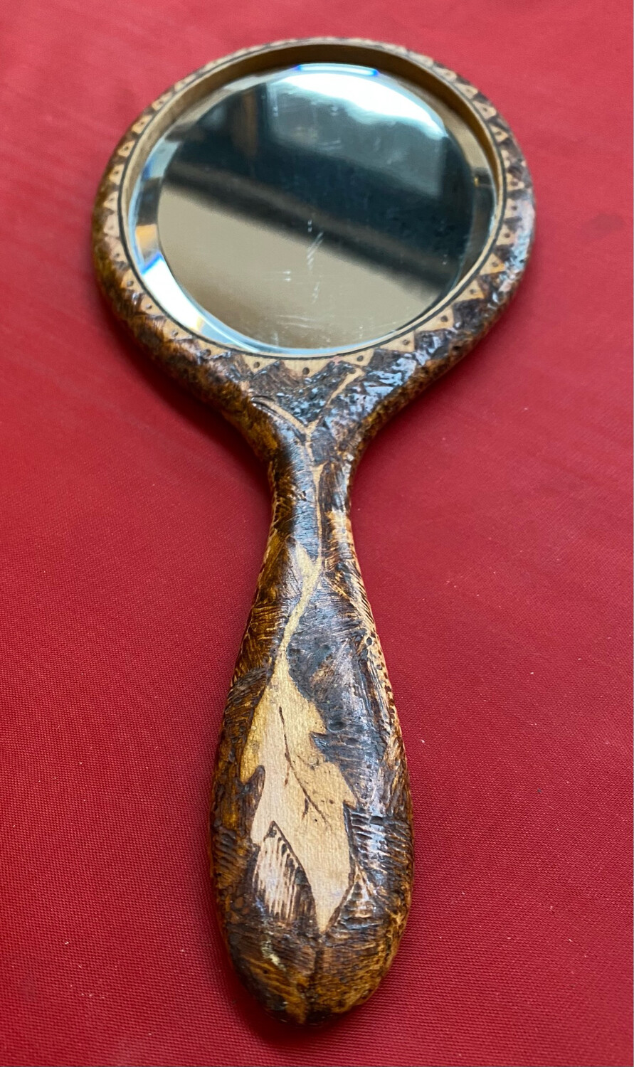 Arts & Crafts Hand Mirror - Poker Work. Beautiful Example.