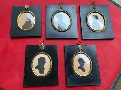 Set Of 5 Victorian Silhouette Frames (With Mismatched Pictures)
