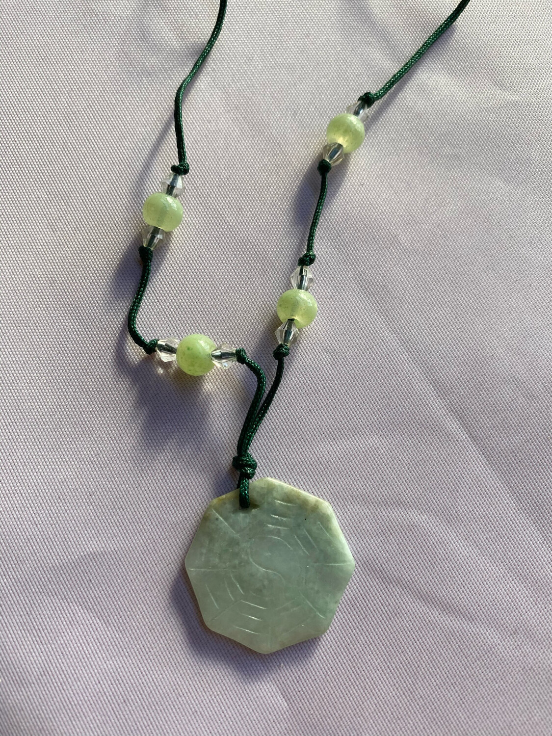 Hand Made Jade Necklace On Simple String