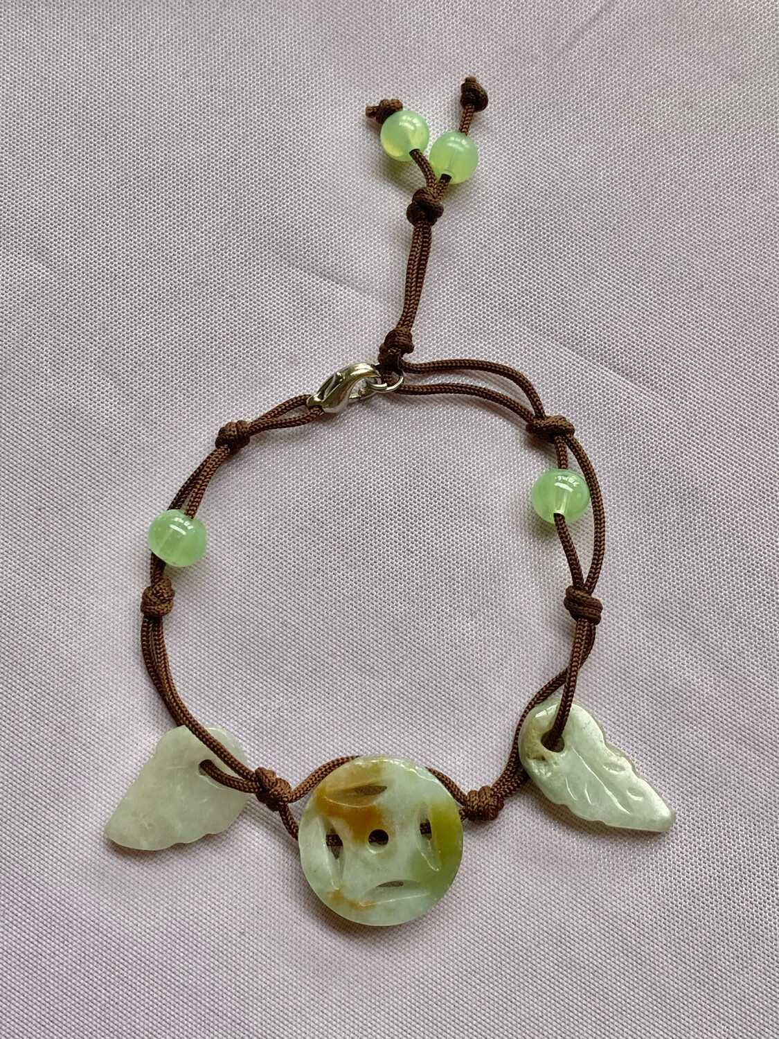 Hand Made Jade Bracelet On Simple String - Small Fit