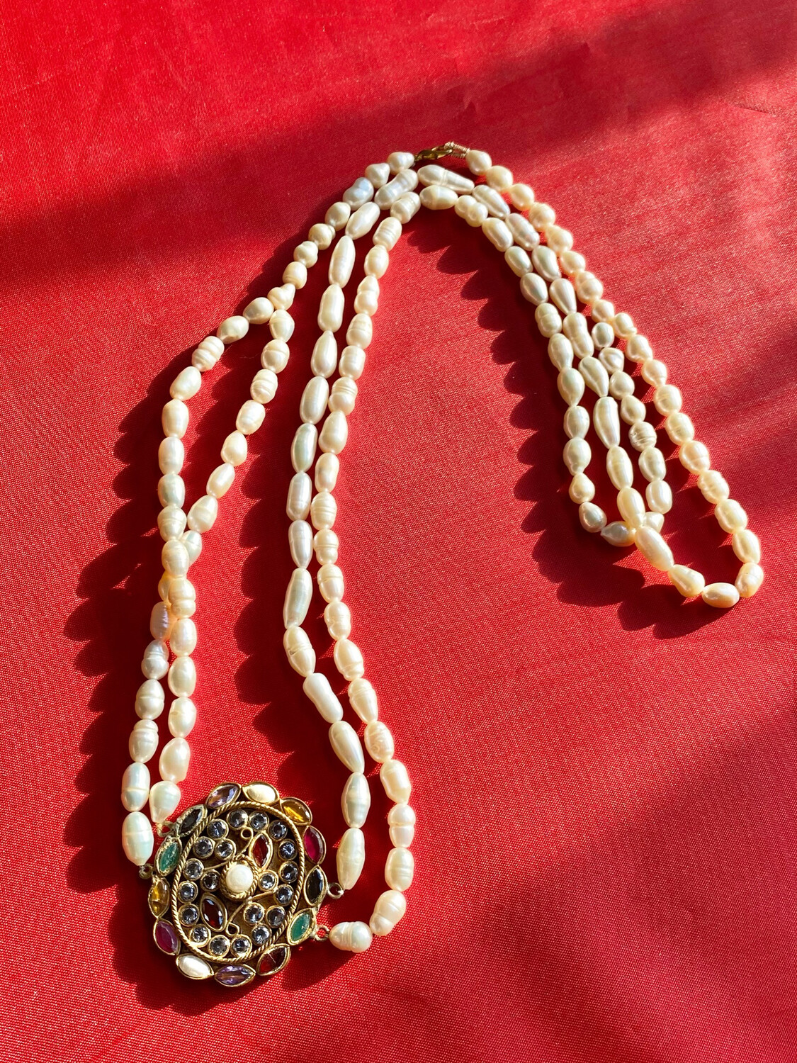 Double String Cultured Pearl Necklace With Large Encrusted Ornament