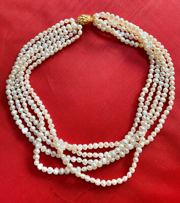 Five String Cultured Pearl Necklace