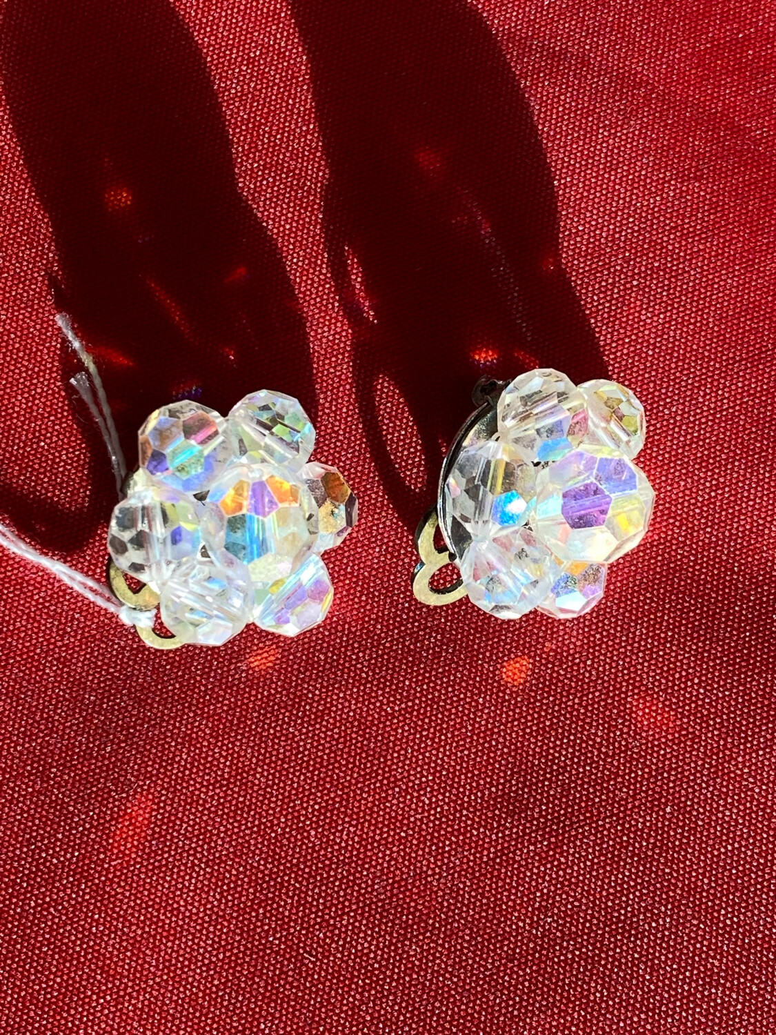 Hand Made Glass Earrings - Pair - With Clip Backs